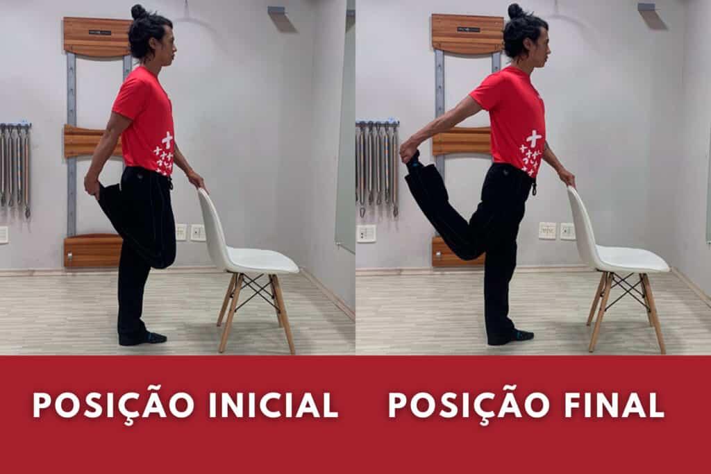 Professor mostra exercício com cadeira