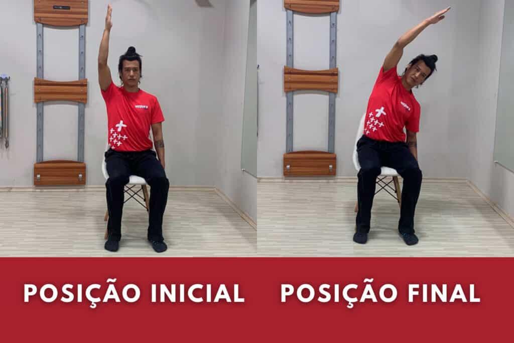 Professor mostra exercício de mobilidade no pilates